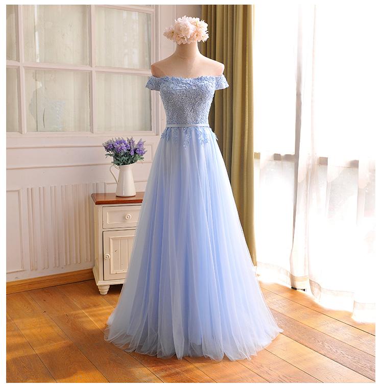 Am319 2017 Custom Made Baby Blue Chiffon Prom Dresssexy Appliques