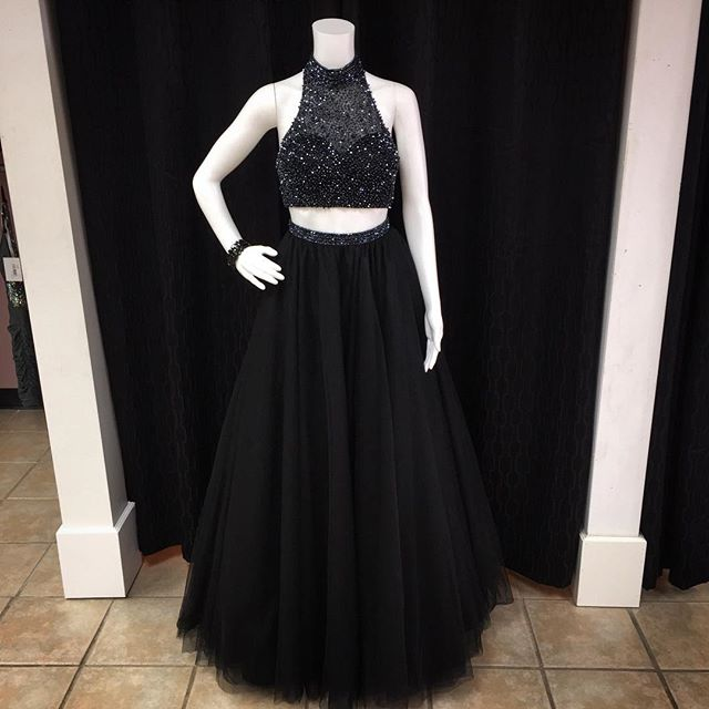 Am339 Black Sheer High Neck Halter Two Piece Prom Dress With Beaded