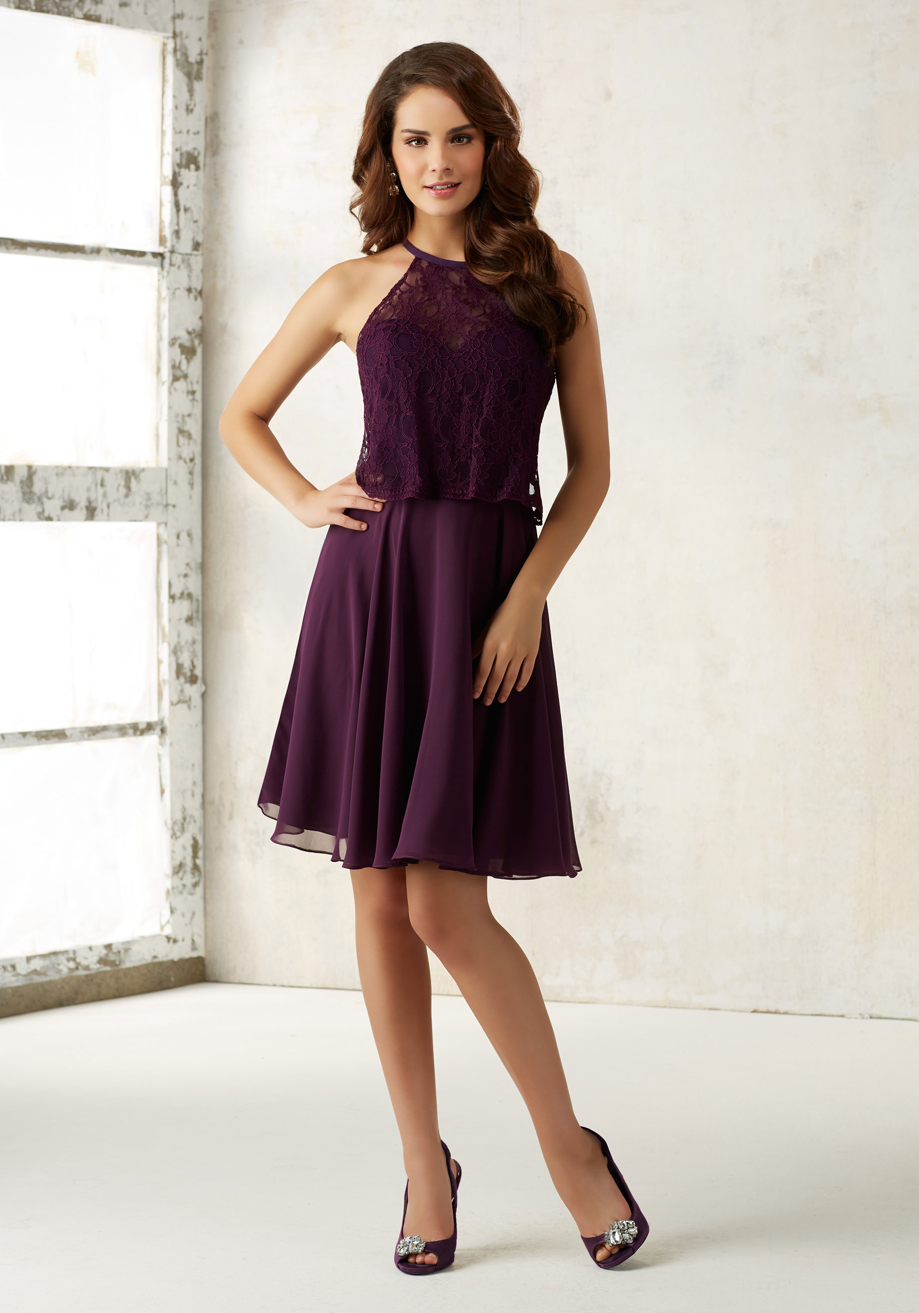D396 Halter Short Homecoming Dress, Knee Length Short Prom Gowns ...