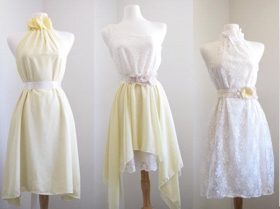 Unique Geometric Pale Yellow engagement dress/ Chiffon Bridesmaid ...
