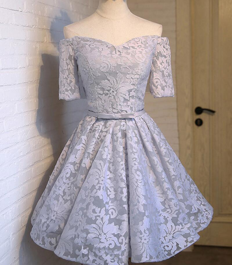 Off Shoulder Short Sleeve Gray Lace Cute Homecoming Prom Dresses ...