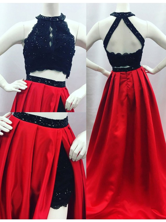 Two Piece Red and Black Lace Prom Dress,Elegant Prom Dress ...