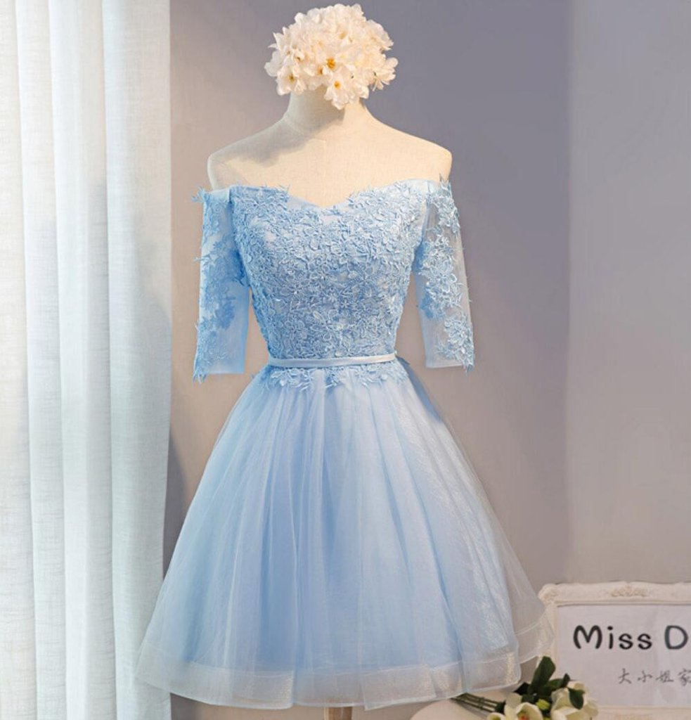 Off Shoulder Short Sleeve Blue Lace Homecoming Prom Dresses ...