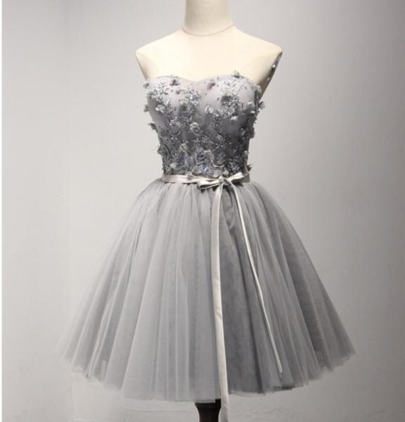 Grey Lace Tulle Short Sweetheart Homecoming Prom Dresses, Short ...