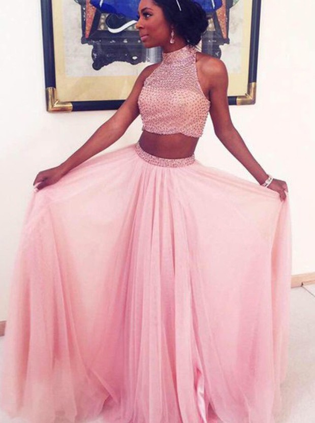 Long Pink Beaded Two Pieces High Neck Prom Dresses 01023 ...