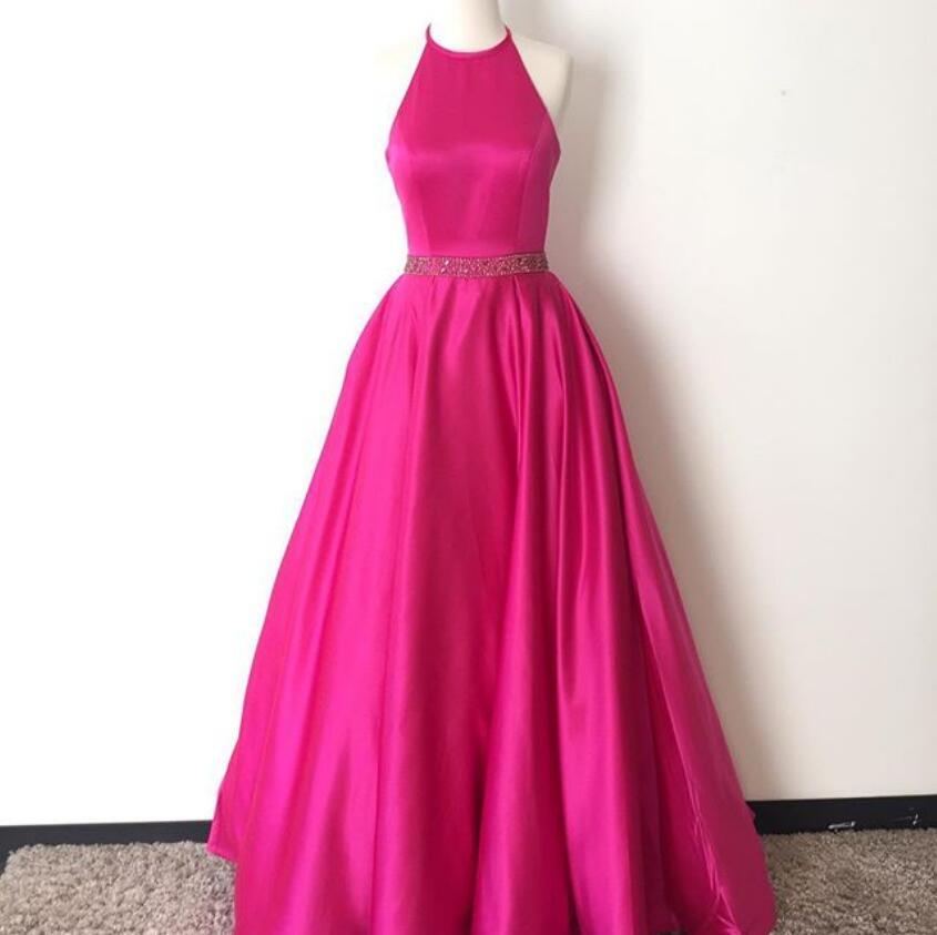 Hot Pink Halter Long Satin Prom Dressesopen Back A Line Simple