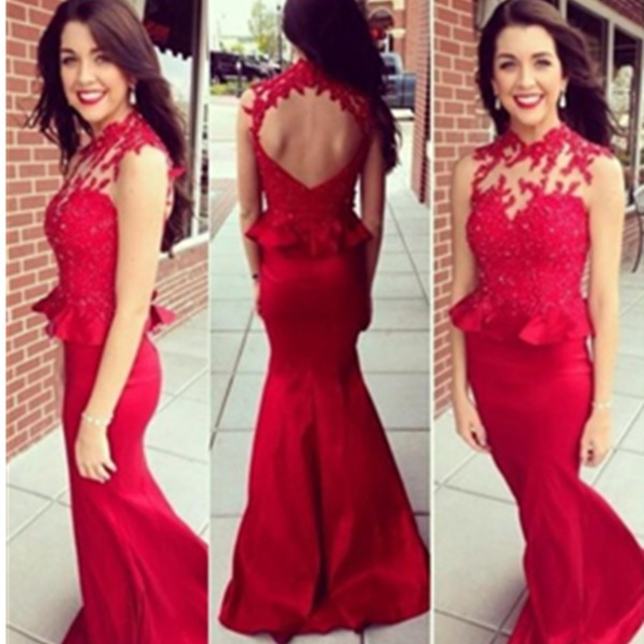 Sleeveless Formal Dress Long Satin Red Lace Mermaid Prom Dress,Red ...