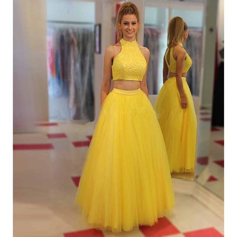 Yellow Tulle Long Prom Dresses,A-line Wedding Party Dresses,Two ...