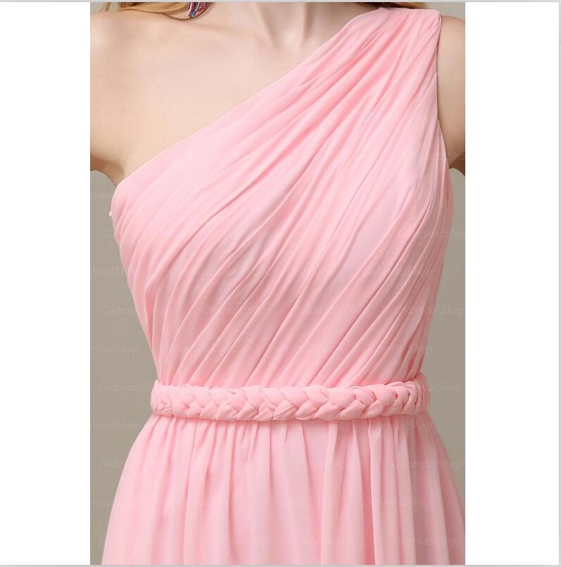 J223 one shoulder bridesmaid dresses, pink bridesmaid dresses ...