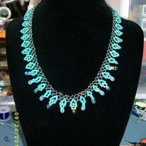 Gunmetal and Turquoise Necklace