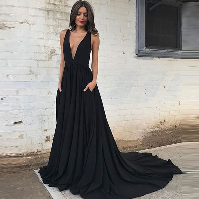 low v neck prom dress