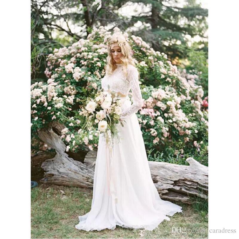 2017 Elegant Two Pieces Lace Wedding Dresses Plus Size Bohemian Long