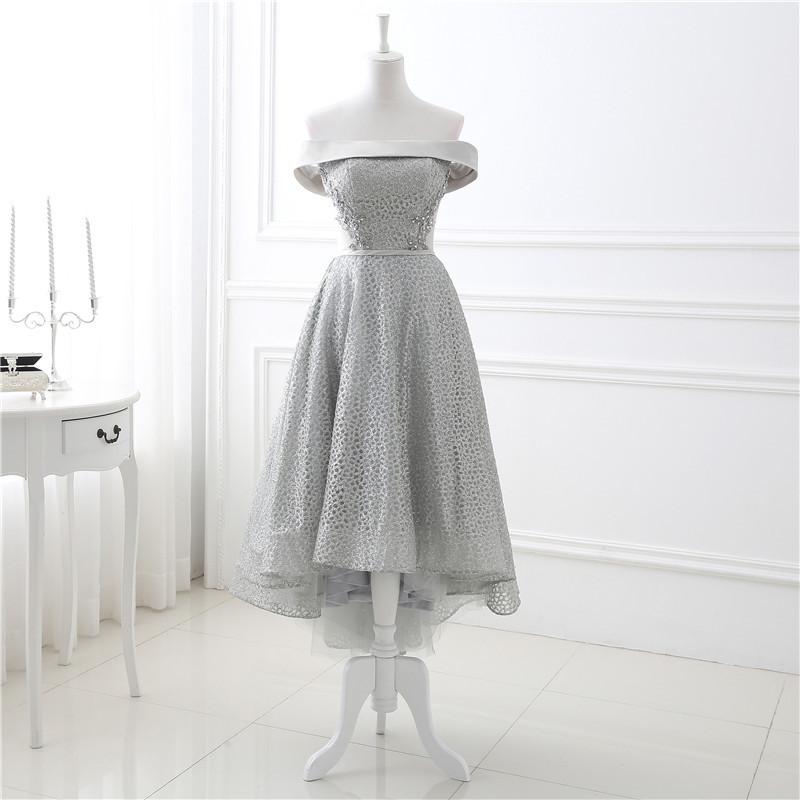 Grey Sequins Off Shoulder High Low Homecoming Dresses,Prom Dresses ...