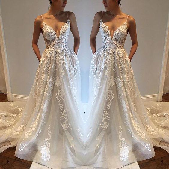 Lace Wedding Dress with Spaghetti Straps