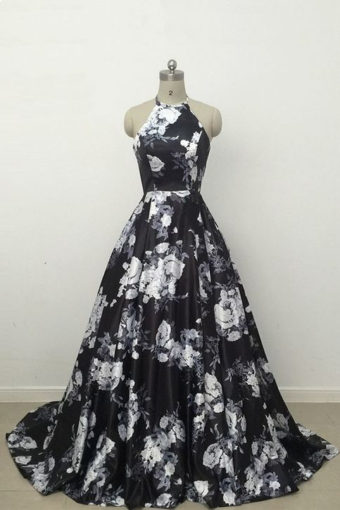 cute black and white floral satin halter prom dress long