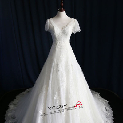 Real mermaid wedding dresses white short sleeves v-neck long lace appliques  wedding gowns plus 43fbe992d727
