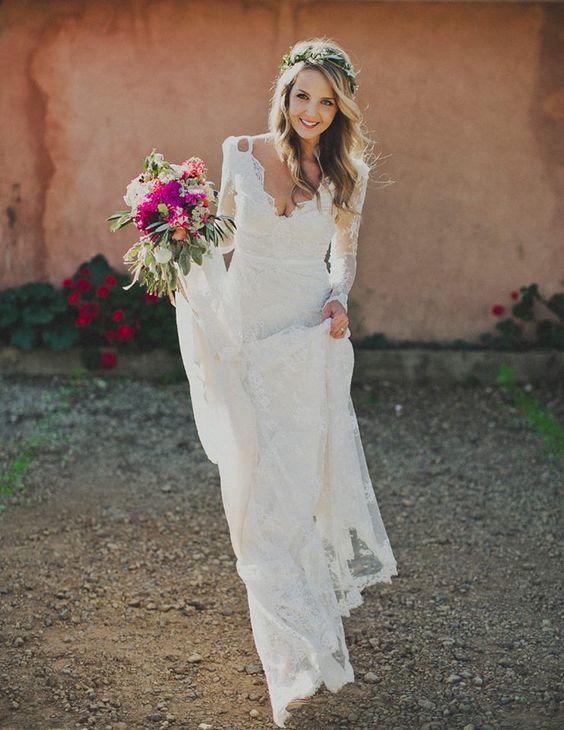 A Line V Neck Romantic Full Lace Wedding Dress,Long Sleeve Lace ...