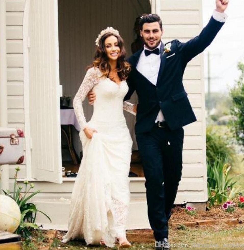 Long Sleeves Vintage Lace 2017 Wedding Dresses Spring Custom Made ...