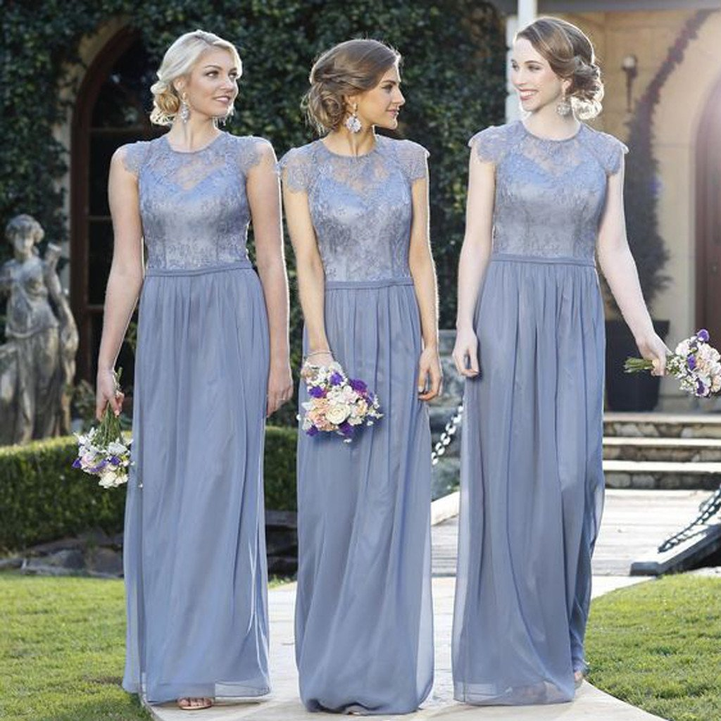 Elegant Lace Top Cap Sleeve Charming Small Round Neck Formal A Line Cheap Bridesmaid Dresses