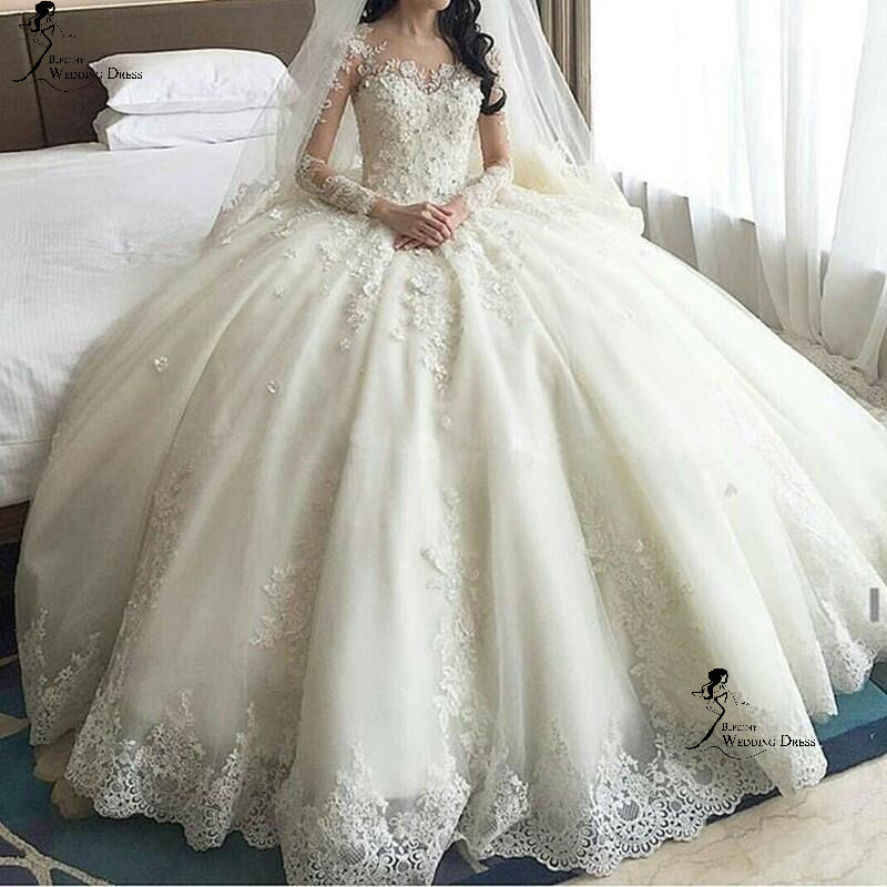 Luxurious Ivory Wedding Dresses,Long Sleeve Lace Appliqued Tulle ...
