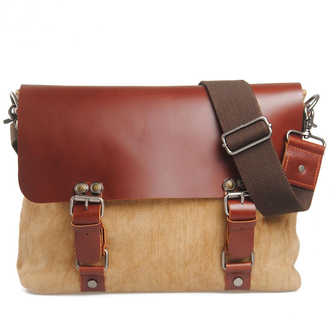 Vintage Handmade Crazy Horse Leather Canvas Briefcase Messenger 13 ...