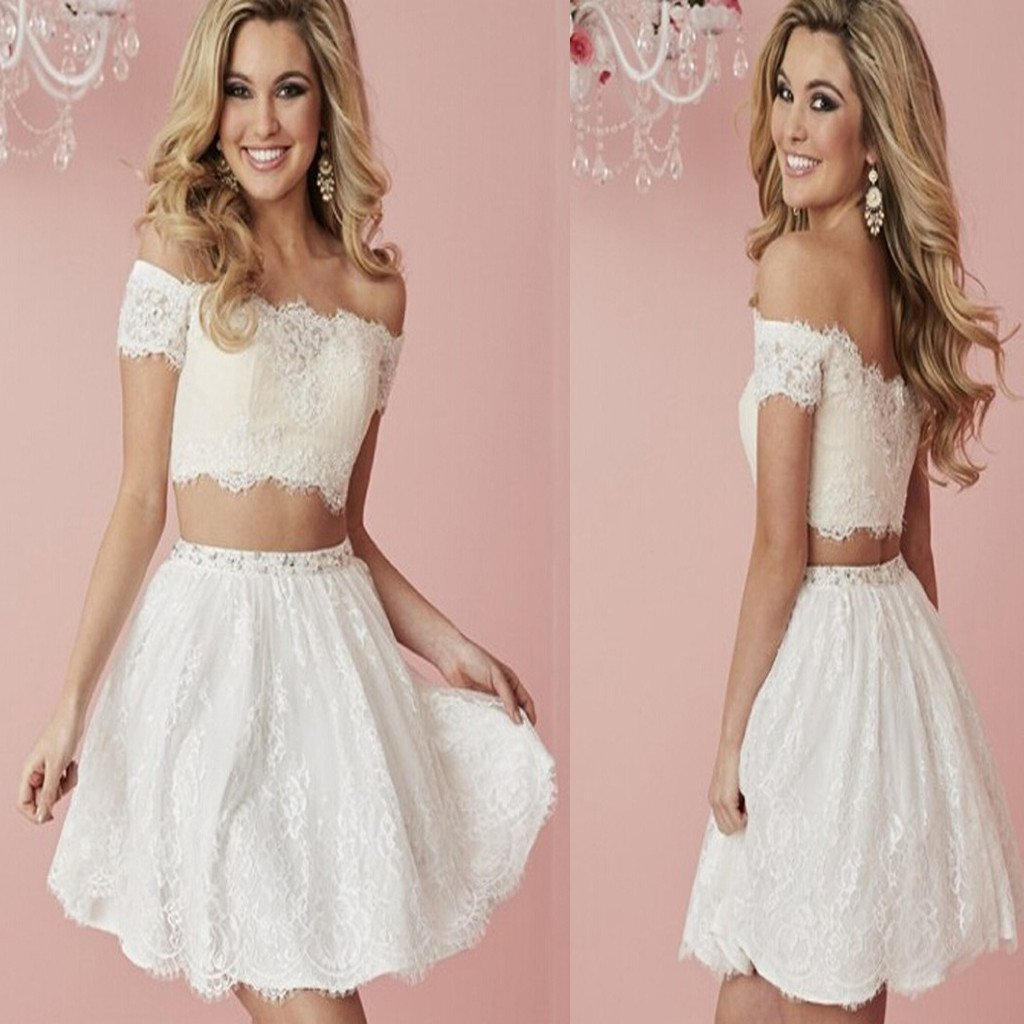 Short Sleeve A Line White Lace Homecoming Dress,Two Piece Short Off ...