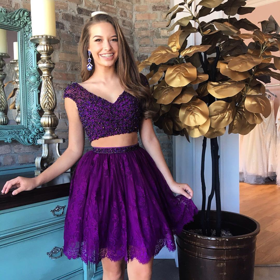 Stunning Purple 2 Pieces Short Prom Dress,Top Beading Lace Skirt ...