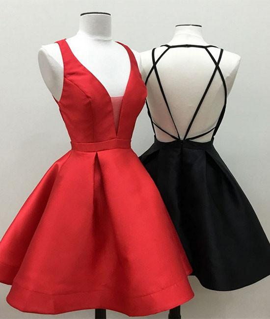 Simple V Neck Homecoming Dress with Backless,Short Prom Dresses ...