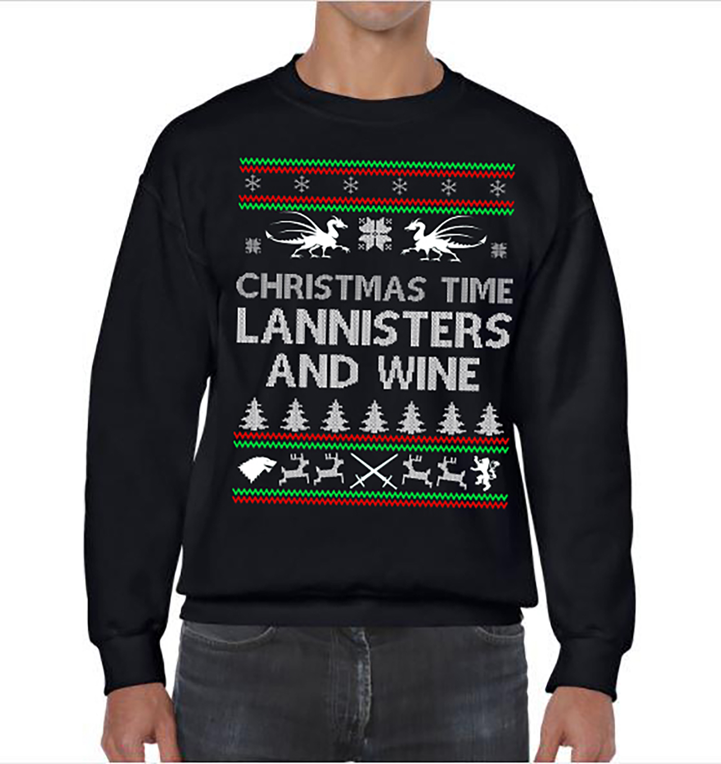 game of thrones christmas time lannisters and wine ugly christmas sweater party lannisters