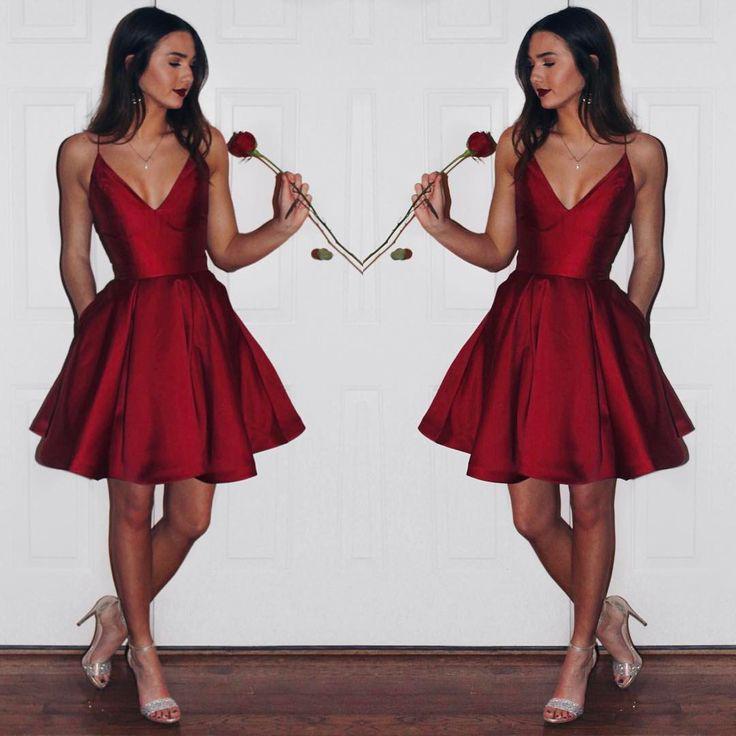 V-neck Burgundy Simple Cheap Modest Homecoming Dresses ...