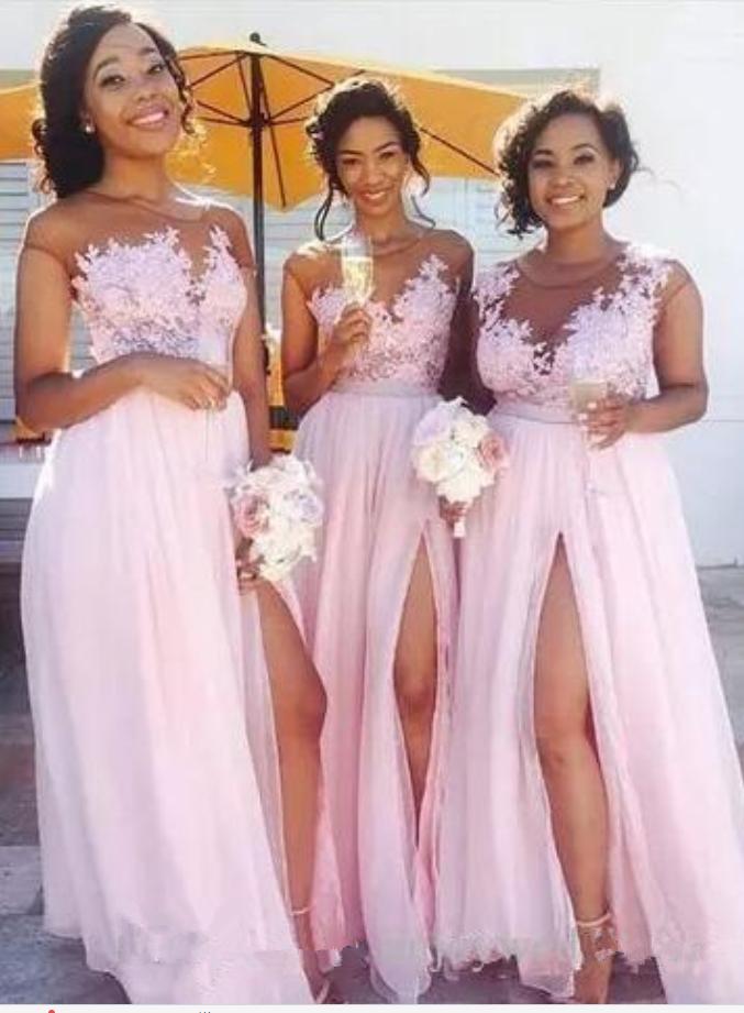 Pink Sleeveless Lace Appliques Bridesmaid Dresses, Side Slit Chiffon ...