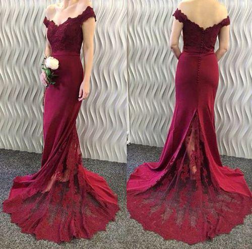 Burgundy Bridesmaid Dress Off The Shoulder Bridesmaid