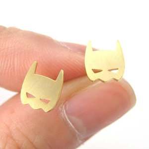 Batman Bat Mask Shaped Stud Earrings in Gold | Allergy Free