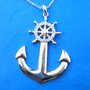 Nautical Anchor and Wheel Pendant Necklace in Silver with Rhinestones