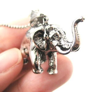Detailed and Realistic Elephant Shaped Pendant Necklace in Silver