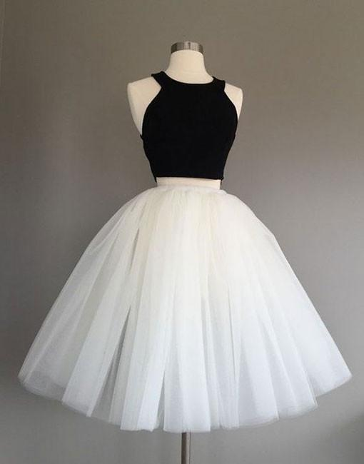 Cute two pieces black and white short prom dress, homecoming dress ...