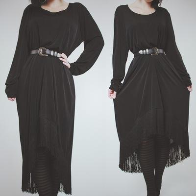 Available - vintage 80s black jersey fringed midi dress ec8a5c69a
