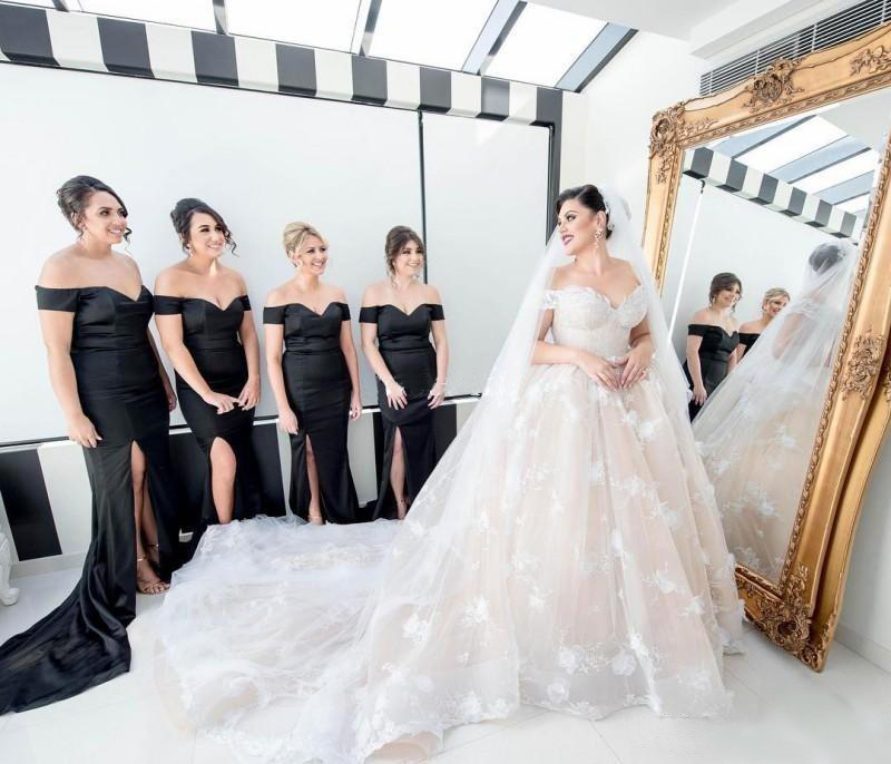 Long bridesmaid dress, black bridesmaid dress, off the shoulder ...