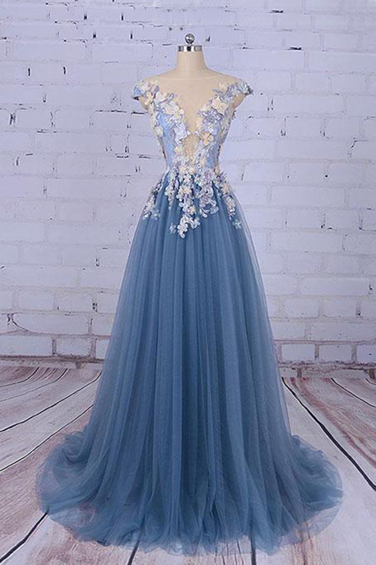 New design long tulle A-line prom dress, 3D flower evening dresses ...
