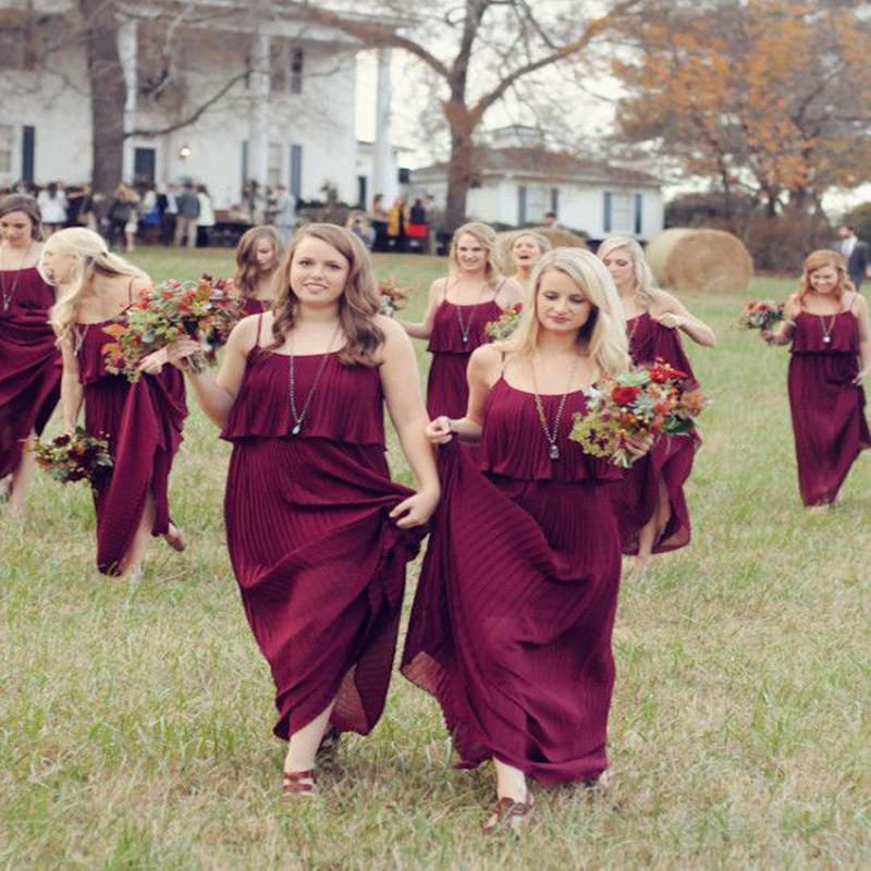Burgundy Chiffon Bridesmaid Dresses