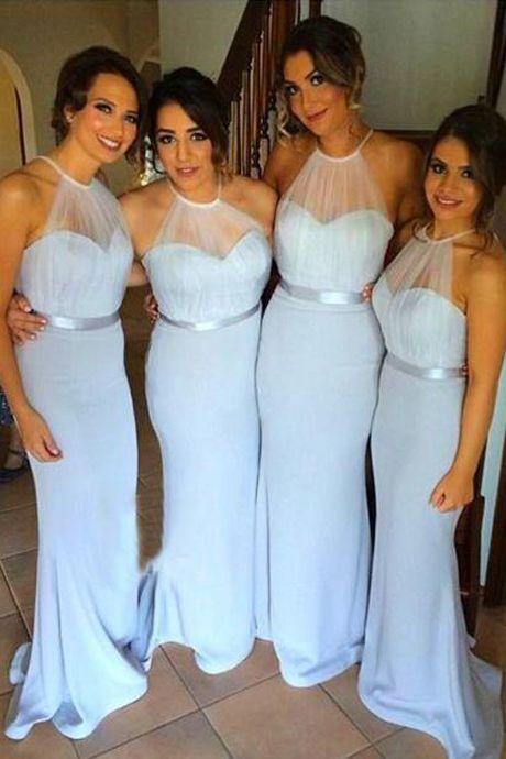 Sky Blue Mermaid Simple Cheap Long Bridesmaid Dresses,Elegant ...