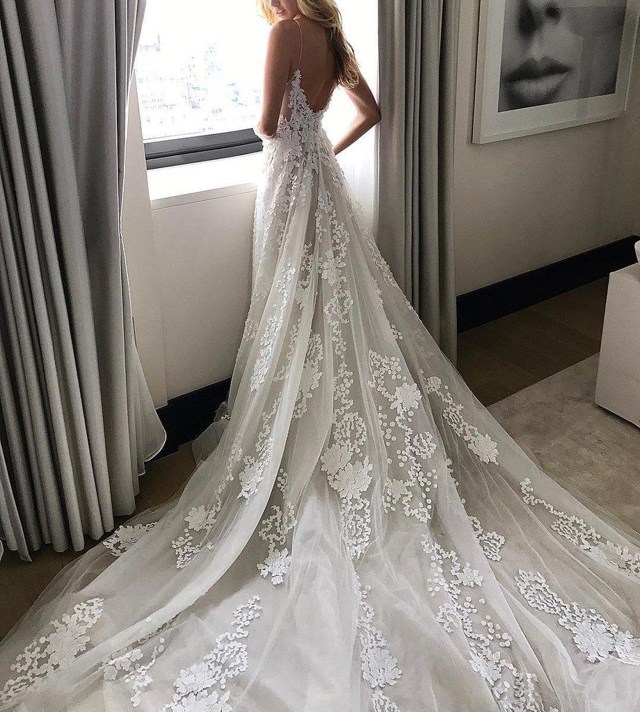 Charming wedding dress, spaghetti strap wedding dress, off white ...