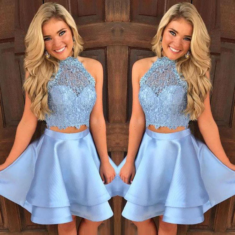 Baby Blue Homecoming Dresses,Two Piece Homecoming Dress,Silver Prom ...