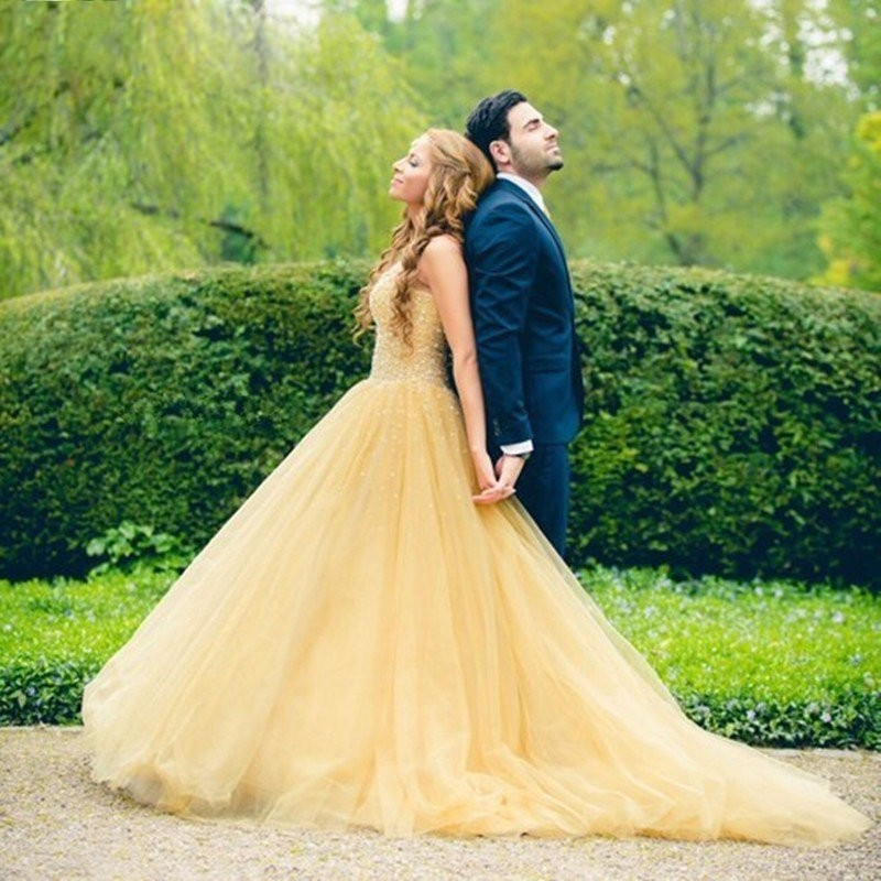 W29 Beautiful Long Yellow Prom Dresses with Crystal Tulle,Ball Gown ...