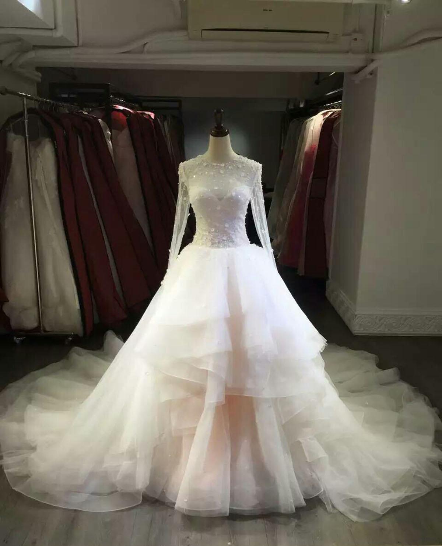 Long Sleeve Layed Tulle Wedding Dresses Mermaid Wedding Gowns