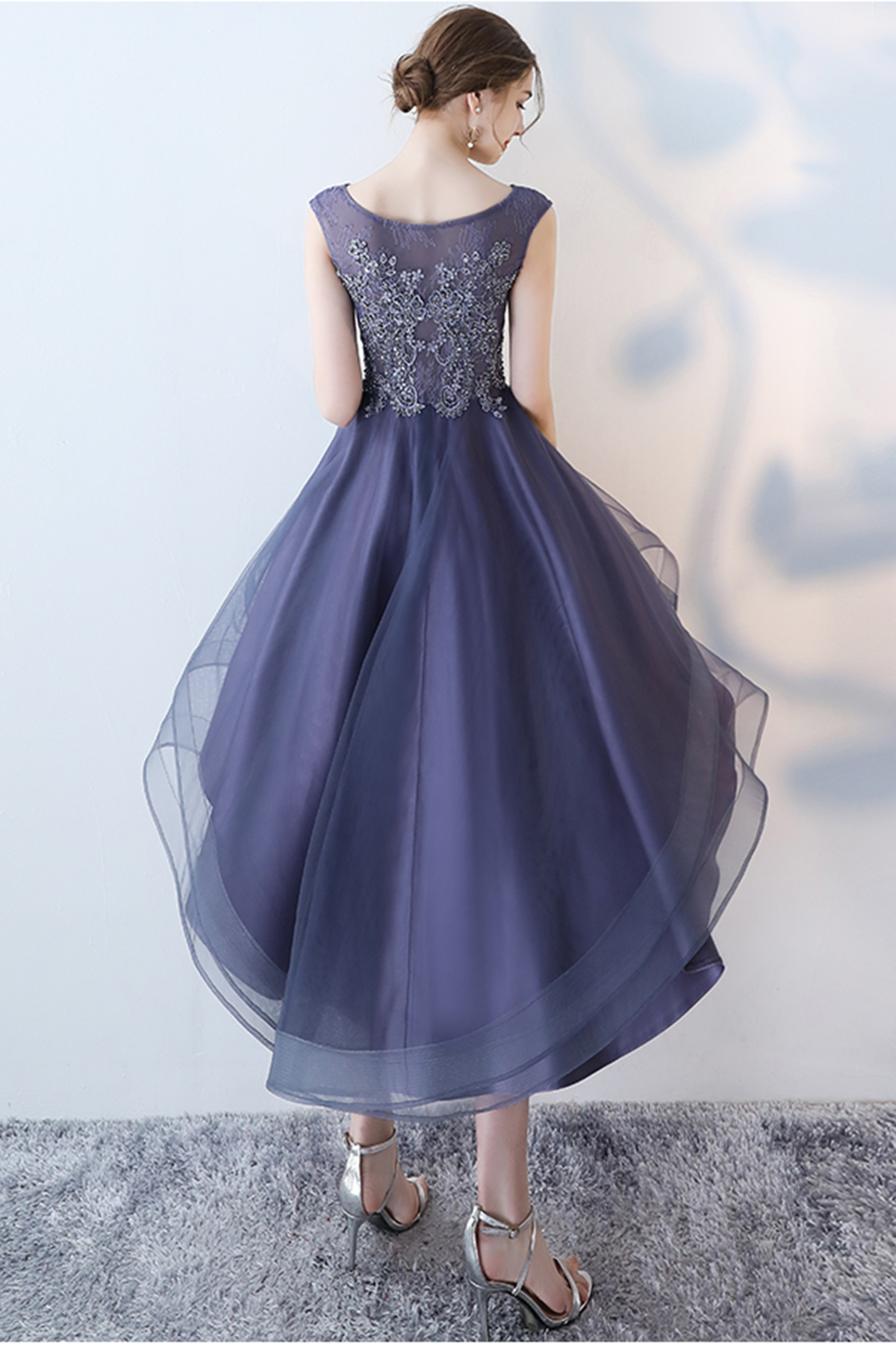 Stylish navy blue tulle high low halter sleeves homecoming dress ...