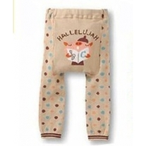 Singing Halleluhjah Pig Legging Pants Tan Khaki with Dots Boy Girls Unisex Leggings Baby to Toddler