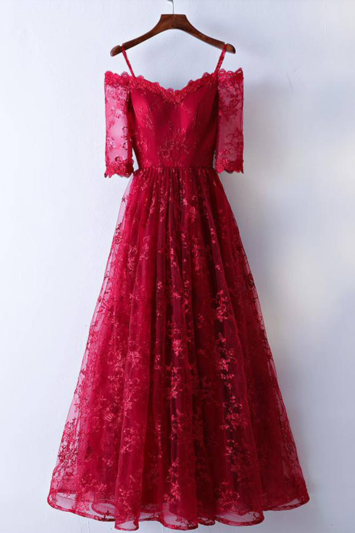Cheap Prom Dresses by SweetheartDress · Burgundy lace off shoulder ...