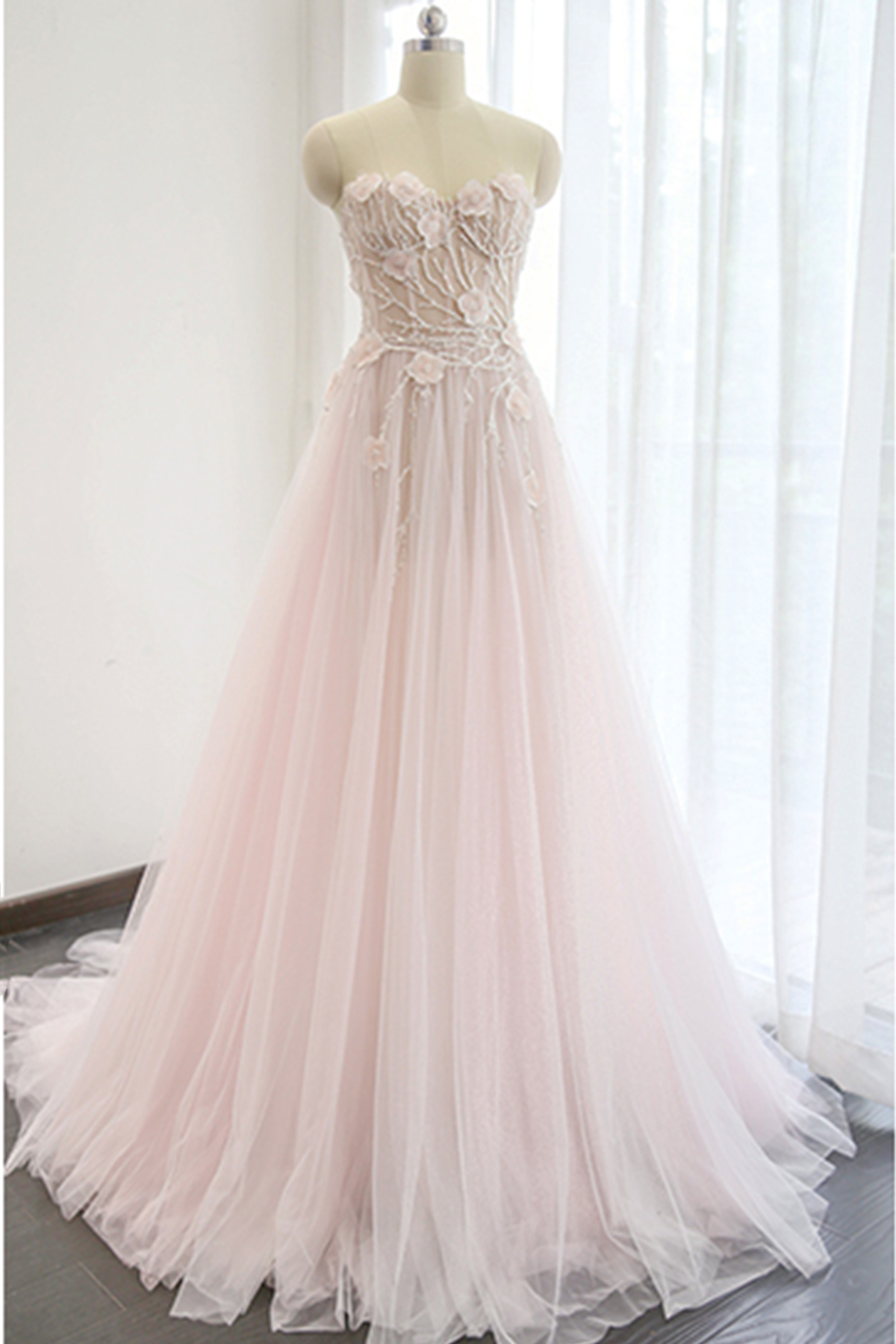 Cheap Prom Dresses by SweetheartDress · Princess pink lace appliqués ...