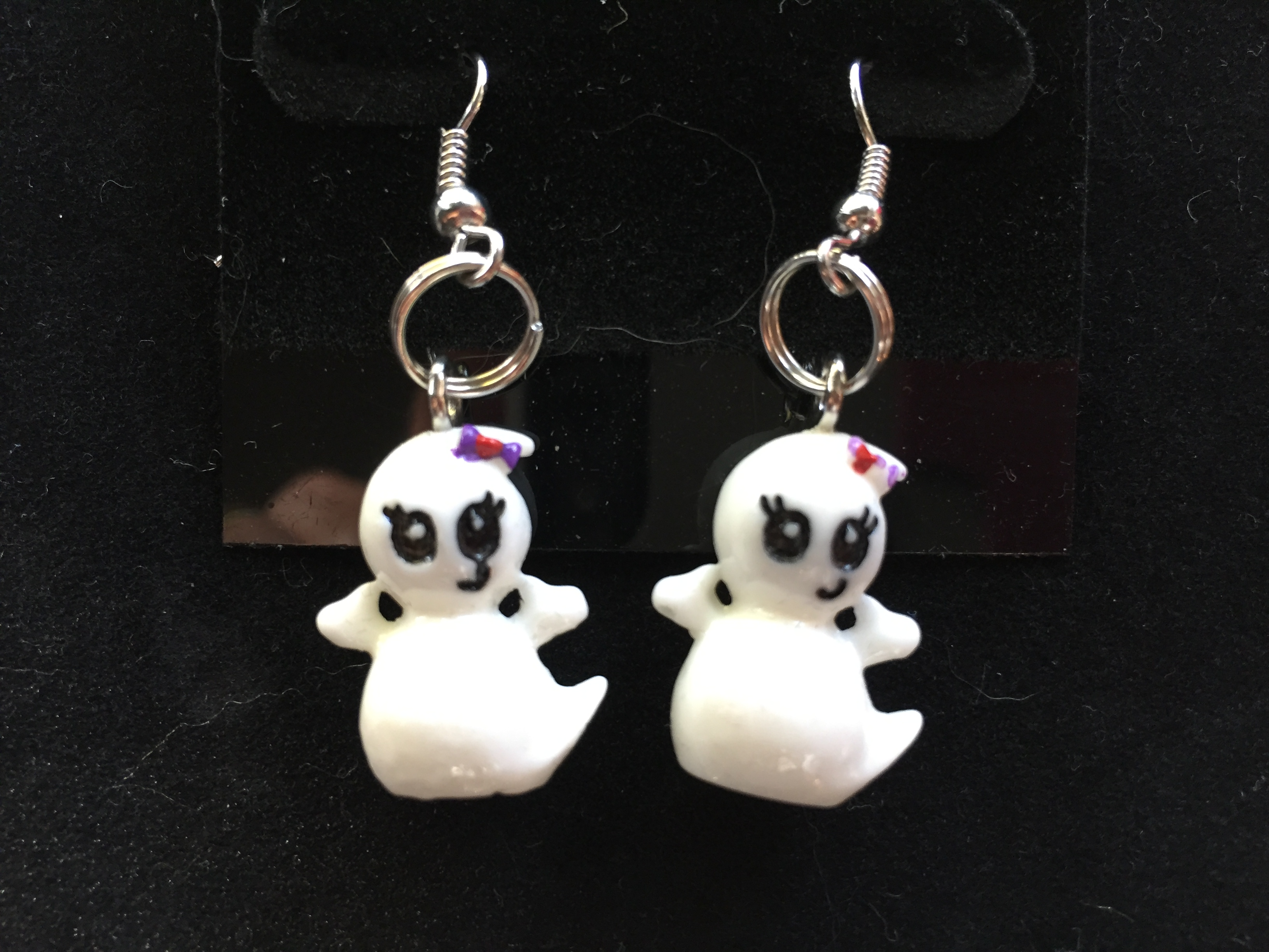 ghost star silver product halloween fan earrings